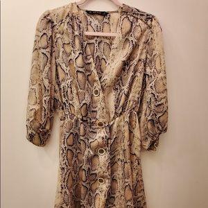 Zara basic large snakeskin silk v neck dress